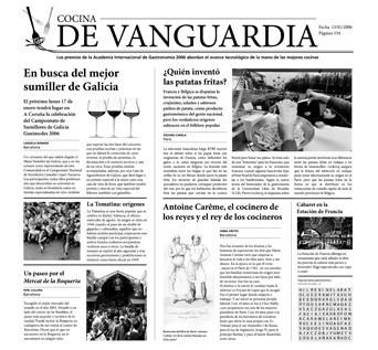 """Papel Periódico """"Cocina de Vanguardia"""" (paq. 500 unid.)"""