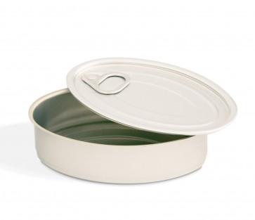 Latas de Conserva Aluminio Oval con Tapa (caja 100 unid.)