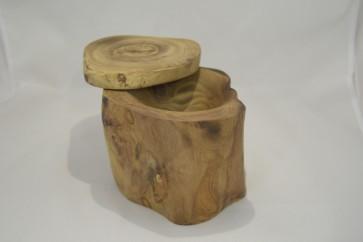 Cuenco de madera de olivo con tapa