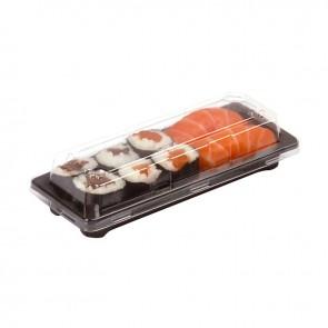 Bandeja sushi alargada con tapa (caja 50 unds)