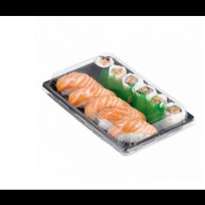 Bandeja sushi negra con tapa